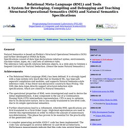 Relational Meta-Language (RML) - generation of compilers from Natural Semantics