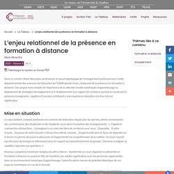 L'enjeu relationnel de la présence en formation à distance