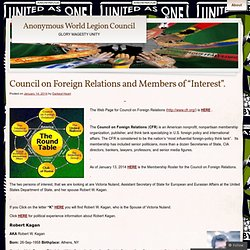 "Council on Foreign Relations and Members of ""Interest""."