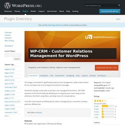 WP-CRM - Customer Relations Management for WordPress — WordPress Plugins
