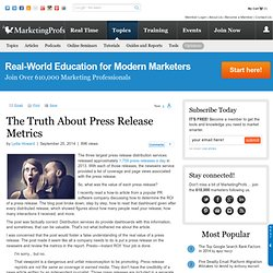 Public Relations - The Truth About Press Release Metrics