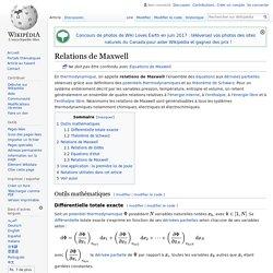 Relations de Maxwell