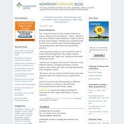 Donor Relations - Nonprofit Literature Blog