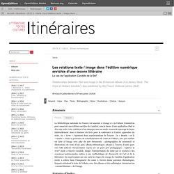 Les relations texte/image dans l'édition numérique enrichie d'une œuvre littéraire