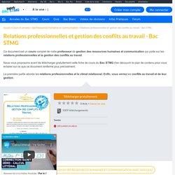 Relations professionnelles et gestion des conflits au travail - Cours CGRH