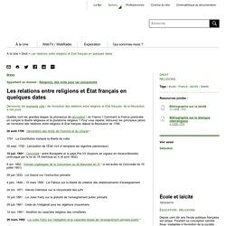 Les relations entre religions et État français en quelques dates - Balises - Bpi