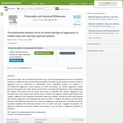 The relationship between locus of control and type of aggression in middle-class and culturally deprived children