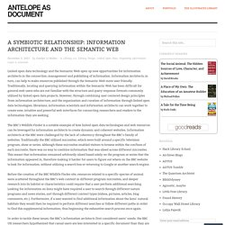 A Symbiotic Relationship: Information Architecture and the Semantic Web