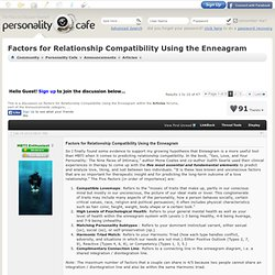 Factors for Relationship Compatibility Using the Enneagram