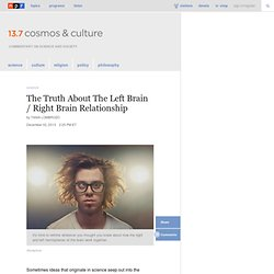 The Truth About The Left Brain / Right Brain Relationship : 13.7: Cosmos And Culture