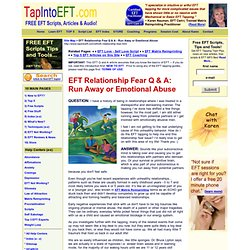 EFT Relationship Fear - Run Away or Emotional Abuse