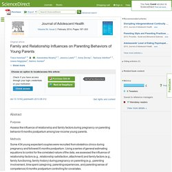 Family and Relationship Influences on Parenting Behaviors of Young Parents