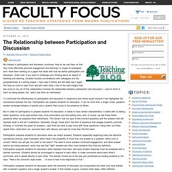 The Relationship between Participation and Discussion