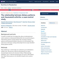 The relationship between dietary patterns and rheumatoid arthritis: a case–control study