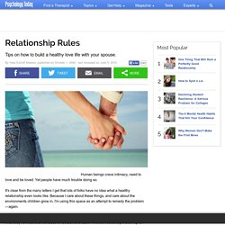 Relationship Rules | Psychology Today - StumbleUpon