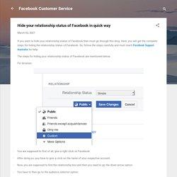 Hide your relationship status of Facebook in quick way
