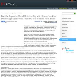 Breville Expands Global Relationship with StayinFront by Deploying StayinFront TouchCG to US-based Field Force
