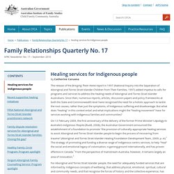 Family Relationships Quarterly No. 17 - Healing services for Indigenous people