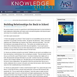 Building Relationships for Back to School