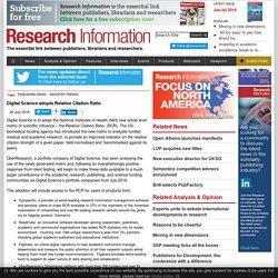 Digital Science adopts Relative Citation Ratio