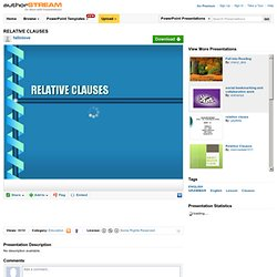 RELATIVE CLAUSES Ppt Presentation