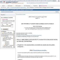 LOI REBSAMEN : LOI n° 2015-994 du 17 août 2015 relative au dialogue social et à l'emploi