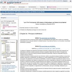 Loi n° 78-17 du 6 janvier 1978 relative à l'informatique, aux fichiers et aux libertés