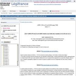 LOI n° 2005-370 du 22 avril 2005 relative aux droits des malades et à la fin de vie