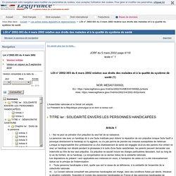 LOI n° 2002-303 du 4 mars 2002 relative aux droits des malades et à la qualité du système de santé