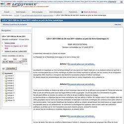 LOI n° 2011-590 du 26 mai 2011 relative au prix du livre numérique