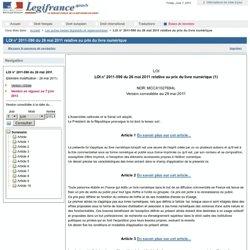 2011-590 du 26 mai 2011 relative au prix du livre numérique