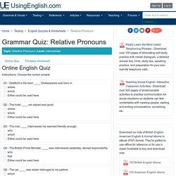 'Relative Pronouns' - English Quiz & Worksheet