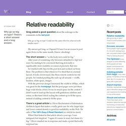 Relative readability / Wilson Miner