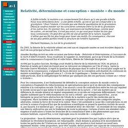 Relativité, déterminisme et conception « moniste » du monde