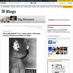 DE LA RELATIVITÉ – La «Lettre à Dieu» d'Einstein vendue 3 millions de dollars sur eBay