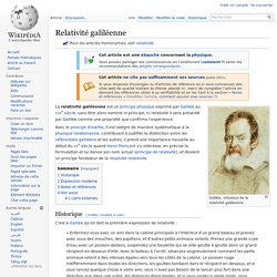 Relativité galiléenne
