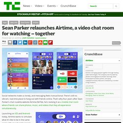Sean Parker relaunches Airtime, a video chat room for watching – together