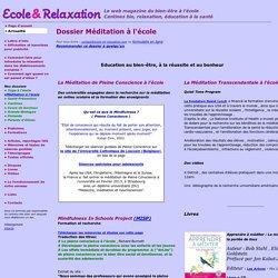Ecole et relaxation - Dossier Méditation