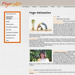 Cours Yoga (Hatha-Yoga) et Relaxation - Foyer des Arts Luxembourg Howald