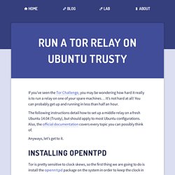 Run A Tor Relay On Ubuntu Trusty