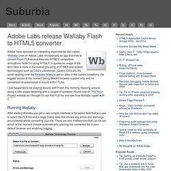 Adobe Labs release Wallaby Flash to HTML5 converter : Suburbia