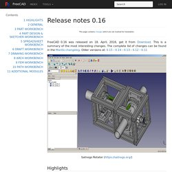 Release notes 0.16 - FreeCAD Documentation