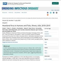 CDC EID - JULY 2020 - Heartland Virus in Humans and Ticks, Illinois, USA, 2018–2019