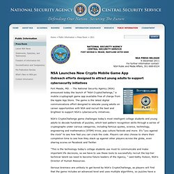 2011 Press Release - NSA Launches New Crypto Mobile Game Appr