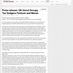 Press release: UK Uncut Occupy Tax Dodgers Fortnum and Mason