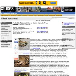 Pesticide Accumulation in Sierra Nevada Frogs (7/26/2013 12:00:00 PM)