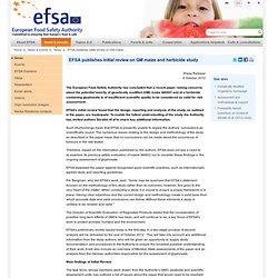 EFSA Press Release: EFSA publishes initial review on GM maize and herbicide study