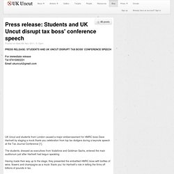 Students and UK Uncut disrupt tax boss' conference speech