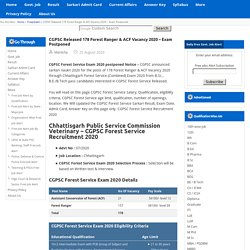 CGPSC Released 178 Forest Ranger & ACF Vacancy 2020 – Exam Postponed Sarkari Result