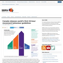 Canada releases world's first 24-hour movement behaviour guidelines : SBRN